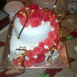 Two tiered rose cake