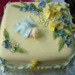 Yellow and blue christening cake